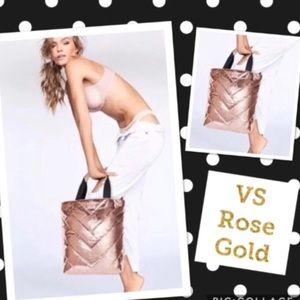 Victoria's Secret Rose Gold Quilted Tote Bag